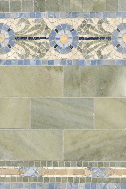 Name: Periwinkle with 3&quot; x 6&quot; bricks<br /> Style: Classic<br /> Product Number: CB254<br /> Description: Periwinkle 5&quot; and 2&quot; with 3&quot;x6&quot; bricks in Verde Luna, Kay's Green, Travertine White, Travertine Noce, Blue Macauba, Crema Valencia, Celeste, Blue Bahia (p)