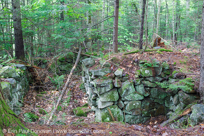 The John Hart Place home site cellar hole along Sandwich Notch Road in Sandwich, New Hampshire USA. During the early nineteenth century, thirty to forty families lived (hill farm community) in the Notch. By 1860 only eight families lived in the Notch and by the turn of the twentieth century only one person, Moses Hall, lived in the Notch year around. Now a private residence the Hall Place is the only house left on the Notch Road.
