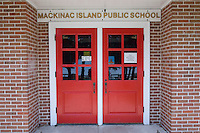 The entrance to the tiny Mackinac Island Public School on Mackinac Island in Michigan.