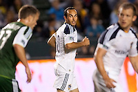Landon Donovan (10) of the LA Galaxy with a look back. The LA Galaxy defeated the Portland Timbers 3-0 at Home Depot Center stadium in Carson, California on  April  23, 2011....