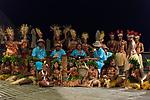 Rangiroa Atoll, Tuamotu Archipelago, French Polynesia; traditional Polynesian dancers perform for tourists after dinner