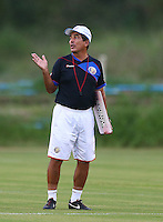 Costa Rica coach Jorge Luis Pinto gestures during the training session ahead of tomorrow's match vs Greece
