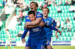 Hibs v St Johnstone.....30.04.11.Kevin Moon celebrates his goal with Jordan Robertson.Picture by Graeme Hart..Copyright Perthshire Picture Agency.Tel: 01738 623350  Mobile: 07990 594431