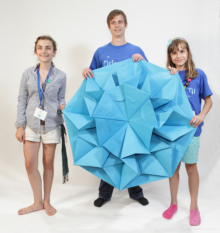 The oversized folding event. Team I-don't-know fold Star Helena designed by Carmen Sprung. Team members (left to right): Alex Dresdner, Tobias Schraznk, Michelle Szinger.
