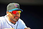 2 March 2010: New York Mets' catcher Omir Santos looks out from the dugout prior to a game against the Atlanta Braves during the Opening Day of Grapefruit League play at Tradition Field in Port St. Lucie, Florida. The Mets defeated the Braves 4-2 in Spring Training action. Mandatory Credit: Ed Wolfstein Photo