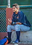 29 July 2016: Brooklyn Cyclones catcher Ali Sanchez sits outside the dugout prior to a game against the Vermont Lake Monsters at Centennial Field in Burlington, Vermont. The Lake Monsters fell to the Cyclones 8-5 in NY Penn League action. Mandatory Credit: Ed Wolfstein Photo *** RAW (NEF) Image File Available ***