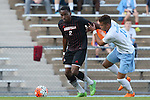23 October 2015: Louisville's Michael DeGraffenreidt (2) and North Carolina's Zach Wright (10). The University of North Carolina Tar Heels hosted the University of Louisville Cardinals at Fetzer Field in Chapel Hill, NC in a 2015 NCAA Division I Men's Soccer match. UNC won the game 2-1.