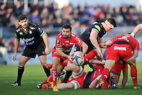 Eric Escande of Toulon looks to pass the ball. European Rugby Champions Cup match, between RC Toulon and Bath Rugby on January 10, 2016 at the Stade Mayol in Toulon, France. Photo by: Patrick Khachfe / Onside Images
