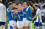 St Johnstone v Morton....02.05.09.Steven Milne celebrates his second goal with Derek Holmes, Kevin Moon and Paul Sheerin.Picture by Graeme Hart..Copyright Perthshire Picture Agency.Tel: 01738 623350  Mobile: 07990 594431