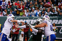 Buffalo Bills, QB, throws the ball against New York Jets during their NFL game at MetLife Stadium in New Jersey. 09.05.2014. VIEWpress