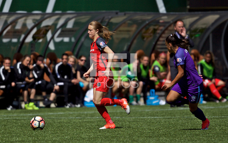 Portland, OR - Saturday April 15, 2017: Emily Sonnett during a regular season National Women's Soccer League (NWSL) match between the Portland Thorns FC and the Orlando Pride at Providence Park.