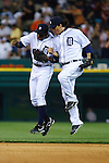April 27, 2009:    #30 Magglio Ordonez of the  Detroit Tigers and #28 Curtis Granderson of the  Detroit Tigers  celebrate their victory  during the MLB game between New York Yankees and Detroit Tigers at Comerica Park, Detroit, Michigan. Tigers defeated the Yankees 4-2. (Credit Image: Rick Osentoski/Cal Sport Media)