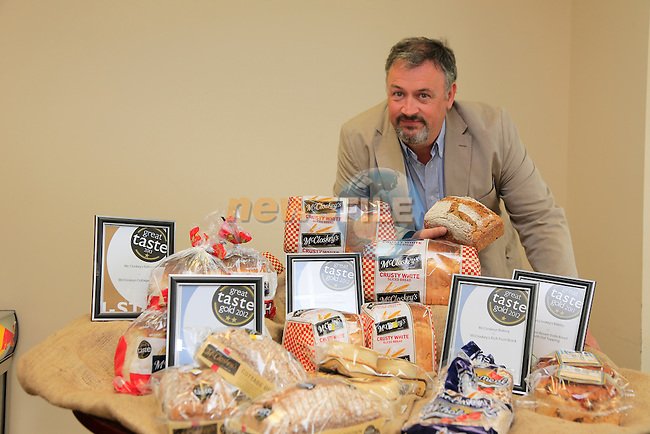 Patrick McCluskey wight he Taste of Ireland awards for McCluskeys Bakery products.<br /> Picture: Fran Caffrey www.newsfile.ie
