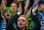Seattle Sounders fans chant before their game with the  New England Revolution during an MLS match on March 8, 2015 in Seattle, Washington.  The Sounders beat the Revolution 3-0.  Jim Bryant Photo. ©2015. All Rights Reserved.