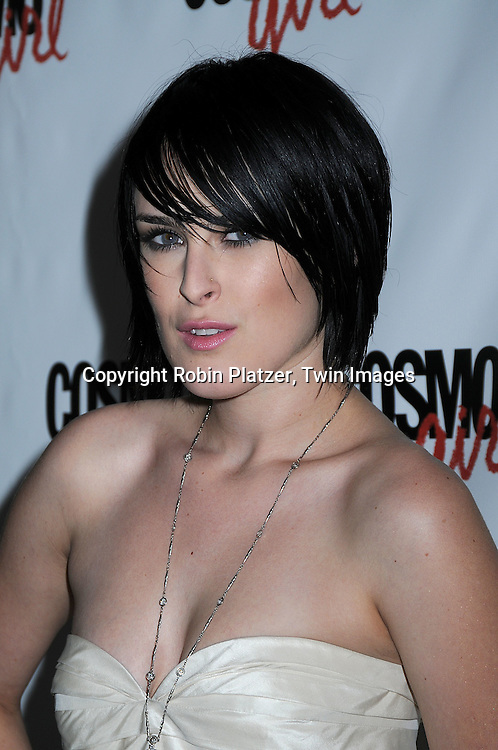 """actress Rumer Willis in Port 61 dress..posing for photographers at a special screening of """"The Bunny House"""" hosted by CosmoGirl, Columbia Pictures and the cast of the movie on August 18, 2008 at the Hearst Tower. ....Robin Platzer, Twin Images"""