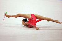 August 23, 2008; Beijing, China; Rhythmic gymnast Evgenia Kanaeva of Russia performs flexibility during clubs routine on way to winning gold in the All-Around final at 2008 Beijing Olympics..