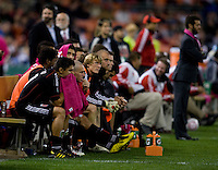 Jaime Moreno (99) of D.C. United watches from the bench after being substituted during his last game at RFK Stadium in Washington, DC.  Toronto defeated D.C. United, 3-2.