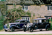 Restored vintage cars at Ashton Keynes Vintage Restorations in Wiltshire, UK