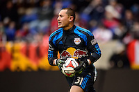 Goalkeeper Luis Robles (31) of the New York Red Bulls. The New York Red Bulls and Chivas USA played to a 1-1 tie during a Major League Soccer (MLS) match at Red Bull Arena in Harrison, NJ, on March 30, 2014.