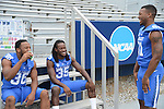 Players wait around during a down time at UK Football Media Day on Friday, August 3, 2012. Photo by Mike Weaver| Staff