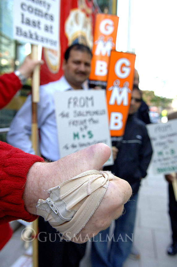 The GMB hold a Mayday demo at the London headquarters of Marks and Spencers over health and safety at the Bakkavor plant. Several workers had been injured at the food processing plant which supplies Marks and Spencers amongst others.