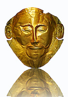 "Gold Death Mask Known as the ""mask of Agamemnon""  from Grave V, Grave Circle A, Mycenae. The mask is made of a thin sheet of beaten gold & shows a man with a beard. 16th century BC Cat No 624 Athens Archaeological Museum."