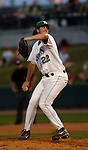 03 Jun 2006 Lincoln, NE Manhattan University's starter Jesse Darcy pitches against the University of Miami during the NCAA Baseball Regionals at Haymarket Park in Lincoln, Ne Saturday night.(Chris Machian/Prairie Pixel Group)