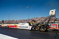 Jul 30, 2016; Sonoma, CA, USA; NHRA top fuel driver T.J. Zizzo during qualifying for the Sonoma Nationals at Sonoma Raceway. Mandatory Credit: Mark J. Rebilas-USA TODAY Sports