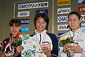 (L to R) Akane Fukuoka, Satomi Suzuki, Ayumi Koshiyama, FEBRUARY 11, 2012 - Swimming : The 53rd Japan Swimming Championships (25m) Women's 100m Breaststroke Victory Ceremony at Tatsumi International Swimming Pool, Tokyo, Japan. (Photo by YUTAKA/AFLO SPORT) [1040]