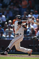 SAN FRANCISCO, CA - OCTOBER 2:  Buster Posey #28 of the San Francisco Giants bats against the Los Angeles Dodgers during the game at AT&T Park on Sunday, October 2, 2016 in San Francisco, California. Photo by Brad Mangin