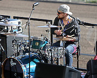 HALLANDALE BEACH, FL - JANUARY 28:  Thomas Rhett's drummer performs on Pegasus World Cup Invitational Day at Gulfstream Park on January 28, 2017 in Hallandale Beach, Florida. (Photo by Liz Lamont/Eclipse Sportswire/Getty Images)