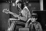 Bill Wyman and son at the Rolling Stones rehearsal at the Institute of Contemporary Arts, London, UK, 1970's.
