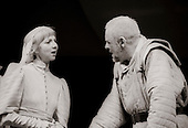 "Goneril (Anna Massey) and King Lear (Anthony Hopkins) in  ""King Lear"" by William Shakespeare at the National Theatre, London 1986.  Directed by David Hare and designed by Hayden Griffin."