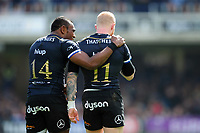 Semesa Rokoduguni and Tom Homer of Bath Rugby. European Rugby Challenge Cup Quarter Final, between Bath Rugby and CA Brive on April 1, 2017 at the Recreation Ground in Bath, England. Photo by: Patrick Khachfe / Onside Images