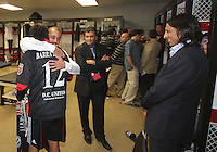 Jaime id greeted by Fred in the locker room during festivities surrounding the final appearance of Jaime Moreno in a D.C. United uniform, at RFK Stadium, in Washington D.C. on October 23, 2010. Toronto won 3-2.