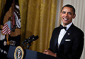 United States President Barack Obama pauses while speaking during a Kennedy Center Honors reception in the East Room of the White House, Sunday, December 4, 2011 in Washington, DC.  For their accomplishments and contributions to the arts actress Meryl Streep, singer Neil Diamond, actress Barbara Cook, musician Yo-Yo Ma, and musician Sonny Rollins where etched recognized as this year's recipients of the Kennedy Center Honors..Credit: Brendan Smialowski / Pool via CNP