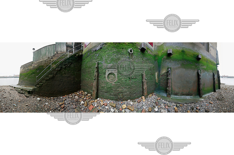 A 360 degree view of Old Wapping Stairs on the north bank of the River Thames in the London Borough of Tower Hamlets.