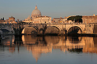 Ponte Sant'Angelo, the bridge over the Tiber, which links the Castel Sant'angelo to the Vatican City, 134 AD, Rome, Italy. Dome of Saint Peter's Basilica visible in the distance. Picture by Manuel Cohen