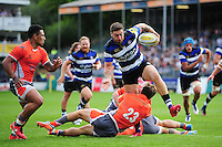 Matt Banahan of Bath Rugby takes on the Newcastle Falcons defence. Aviva Premiership match, between Bath Rugby and Newcastle Falcons on September 10, 2016 at the Recreation Ground in Bath, England. Photo by: Patrick Khachfe / Onside Images