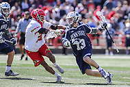College Park, MD - April 8, 2017: Penn State Nittany Lions Nick Spillane (13) runs with the ball during game between Penn State and Maryland at  Capital One Field at Maryland Stadium in College Park, MD.  (Photo by Elliott Brown/Media Images International)