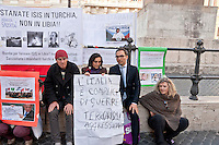 Mirko Busto (R), deputy of the Five Star Movement took part in the protest against intervention in Libya.<br /> Protest of the No War network, in front Parliament , against intervention in Libya to stop Daesh, because it deemed it unnecessary, but wonders to punish the Turks  and Saudis, considered supporters of Daesh. Rome, Italy. 2th March 2016