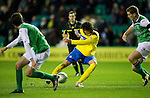 Hibs v St Johnstone...21.01.12.Fran Sandaza rifles home the winning goal.Picture by Graeme Hart..Copyright Perthshire Picture Agency.Tel: 01738 623350  Mobile: 07990 594431