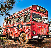 Old beaten buses ply the roads of Sri Lanka.  This one has clearly done some miles.<br /> (Photo by Matt Considine - Images of Asia Collection)