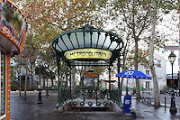 """Subway station """" Abbesses """" with shelter of roof, 1900, Place des Abbesses, Paris 18th, France, built by architect Hector Guimard. Picture by Manuel Cohen"""