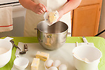 Kitchen preparation for cooking cookies with eggs, and flour