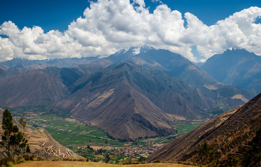 URUBAMBA PROVINCE, CUSCO,  PERU - CIRCA OCTOBER 2015:  View of the Urubamba River and Valley in the Cusco region known as Sacred Valley in Peru.