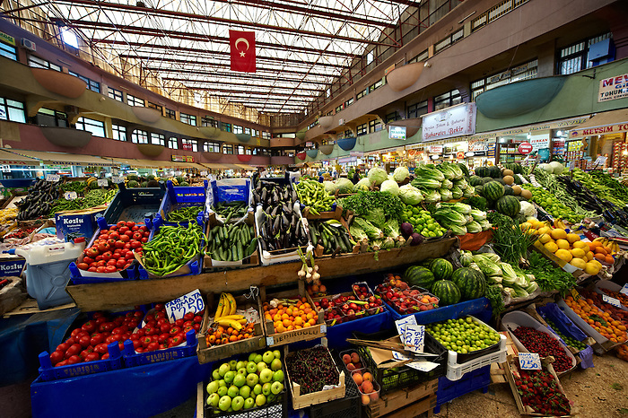 Vegetable market of the shops of the Bazaar of Konya, Turkey