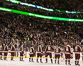 Anthem stick salute - The Boston College Eagles defeated the Boston University Terriers 3-1 (EN) in their opening round game of the 2014 Beanpot on Monday, February 3, 2014, at TD Garden in Boston, Massachusetts.