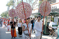 "The ""Pageant of Lanka"" parades through the Promenade with beautifully dressed Sri Lankan performers and theatre elephants during Sri Lanka Day at Third Street Promenade on Saturday, Aug 06, 2011.."