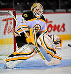 22 April 2009: Boston Bruins' goaltender Tim Thomas warms up prior to facing the Montreal Canadiens at the Bell Centre in Montreal, Quebec, Canada. The Bruins, going into the contest up three games to none, eliminated the Canadiens from Stanley Cup competition with their 4-1 win and series sweep. ***** Editorial Sales Only ***** Mandatory Credit: Ed Wolfstein Photo